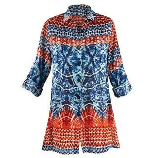 Women's Tunic Top - Easy Breezy Blue and Orange Tie-Dye Button Down