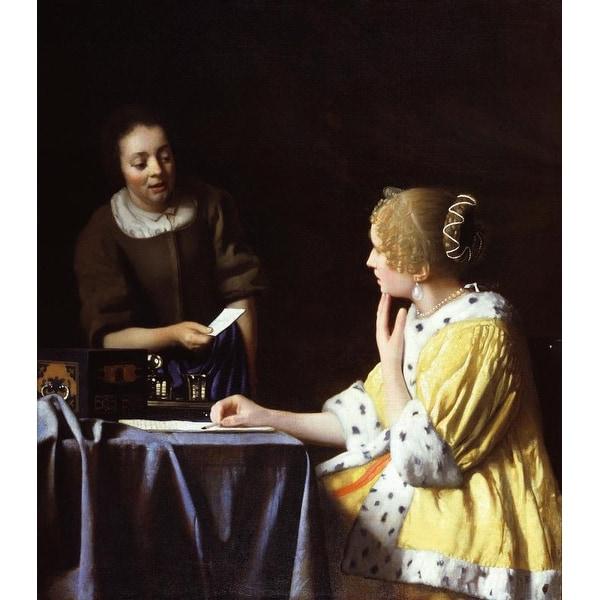 Easy Art Prints Johannes Vermeer's 'Mistress and Maid' Premium Canvas Art