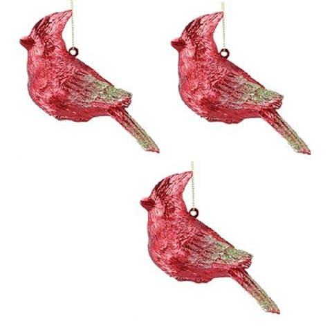 Bright Red Bird Cardinal Christmas Holiday Ornaments 4.75 Inch Set of 3