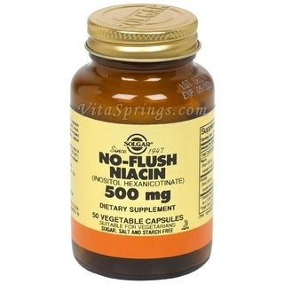 Solgar No-Flush Niacin 500mg Vegetable Capsules (Vitamin B3) (Inositol Hexanicotinate) 50