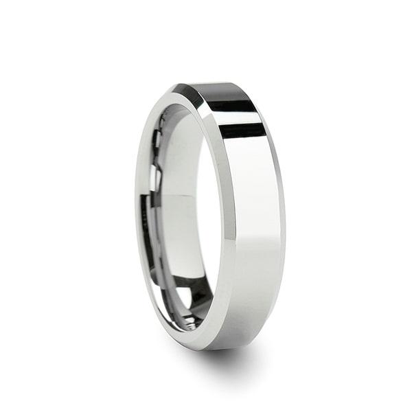 THORSTEN - ROMA Womens Beveled Tungsten Carbide Wedding Ring - 6mm