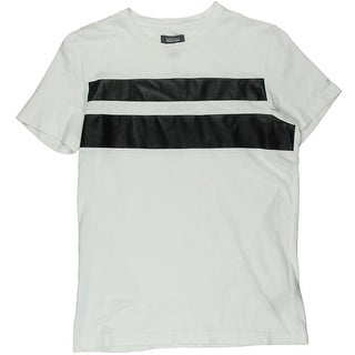 Kenneth Cole Reaction Mens Faux-Leather Stripe Short Sleeves T-Shirt