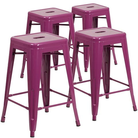 """4 Pack 24""""H Backless Metal Indoor-Outdoor Counter Height Stool w/Square Seat"""