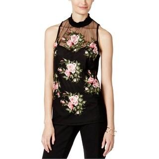 I-N-C Womens Illusion Knit Blouse, black, Medium
