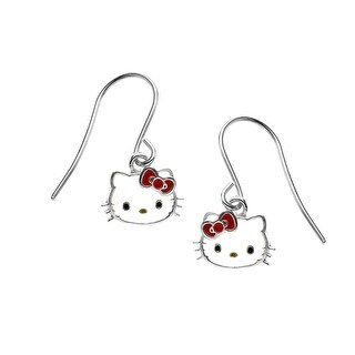 Hello Kitty Drop Earrings in Sterling Silver - White