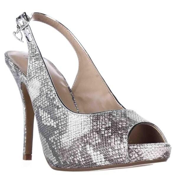 TS35 Camiila Sling-Back Peep-Toe Heels, Silver Snake
