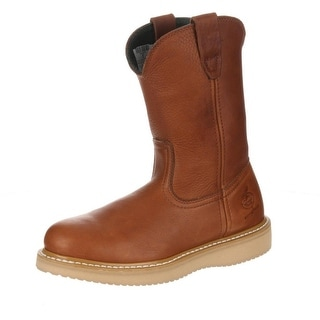 "Georgia Boot Work Mens 10"" ST Wedge Wellington Barracuda Gold G5353"