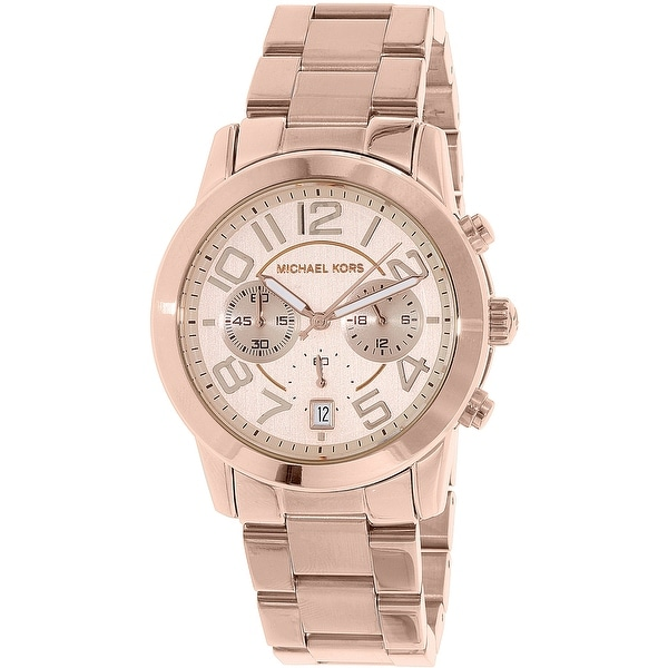 39bd990b13a8 Shop Michael Kors Women s Mercer Rose-Gold Rose-Gold Quartz Fashion Watch -  Free Shipping Today - Overstock - 18617747