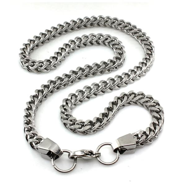 Stainless Steel Curb Link box necklace - 22 inches