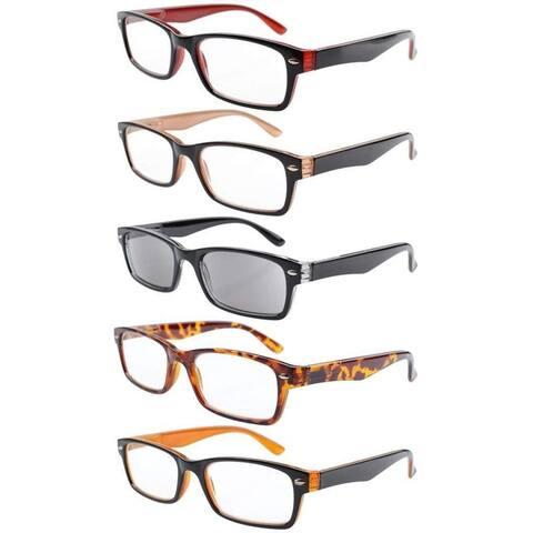 92629bca95e4 Eyekepper 5-Pack Retro Color Frame Reading Glasses Includes Sun Reader