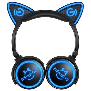 Mindkoo Unicat Wireless Cat Ear Headphones LED Light (Option: Black)
