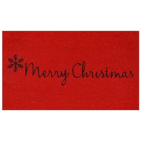 """Red Merry Christmas Doormat, 24"""" x 36"""" - 24 x 36 in"""