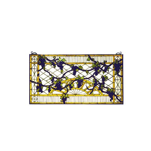 Meyda Tiffany 79789 Tiffany Rectangular Stained Glass Window Pane from the Grape Trellis Collection -