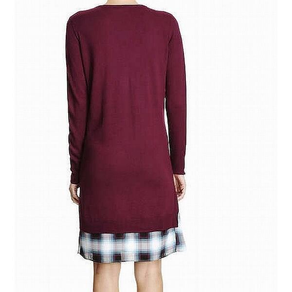 Size Large L Plaid Hem V Neck Sweater