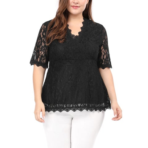 Allegra K Women's Plus Size V Neck Sheer Short Sleeves Scalloped Trim Floral Lace Top