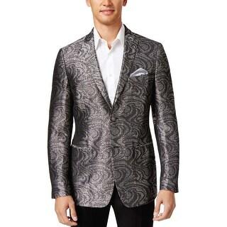 Tallia Orange Mens Slim Fit Black and Silver Shiny Sportcoat 2-Button Blazer