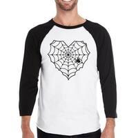 Heart Spider Web T-Shirt Halloween Mens Round Neck Baseball Shirt