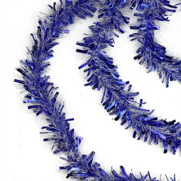 50' Festive Blue and White Christmas Hanukkah Tinsel Garland - Unlit - 6 Ply