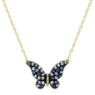 5/8 ct Natural Sapphire & 1/8 ct Diamond Butterfly Necklace in 14K Gold - Blue