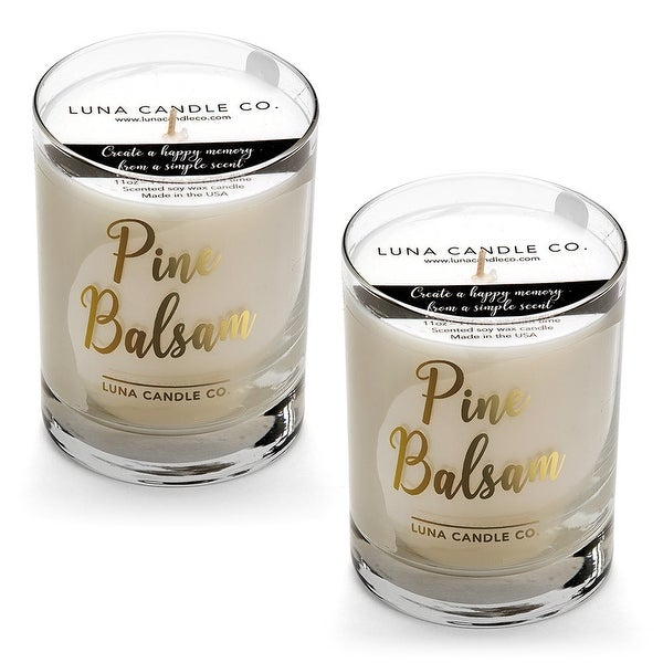 Pine Balsam Candle, Premium Natural Soy Wax, Low Smoke, USA (2 Pack)
