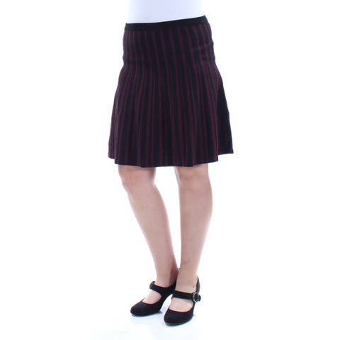 ANNE KLEIN Womens Red Striped Above The Knee A-Line Skirt Size: M