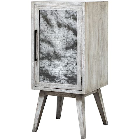 """Uttermost 25407 Iberia 18"""" Wide Glass and Wood Bar - Wine Cabinet - Aged White"""