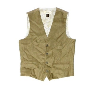 Tasso Elba NEW Safari Tan Beige Mens Size Small S Linen Dress Vest