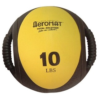 Sportime 10 lb Dual Grip Power Medicine Ball, Yellow/Black