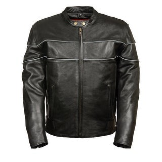 Mens Black Leather Vented Riding Jacket