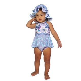 Azul Baby Girls Purple Reign Floral Print Crop Tankini 2 Pc Swimsuit