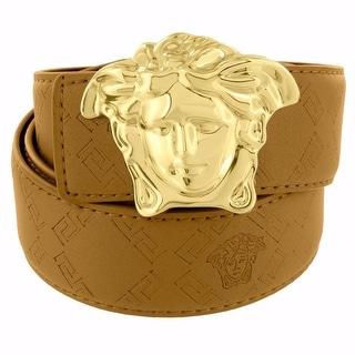 "Brown Leather Band Belt 46"" Waist Fit Gold Tone Medusa Face Buckle 1.9"""