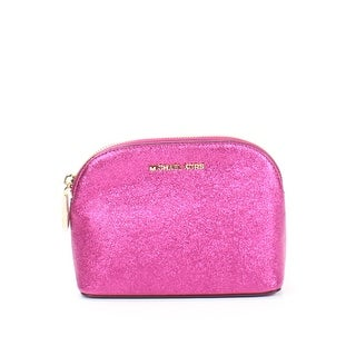 Michael Kors Ultra Pink Medium Crackled Leather Travel Pouch