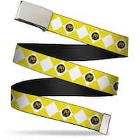 Blank Chrome  Buckle Diamond Yellow Ranger Webbing Web Belt - S