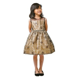 Sweet Kids Girls Bronze Baroque Embroidery Christmas Dress 7-12 (4 options available)