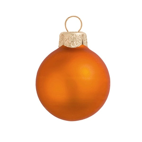 "8ct Matte Pumpkin Orange Glass Ball Christmas Ornaments 3.25"" (80mm)"