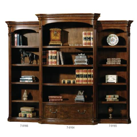 Old World Walnut Solid Wood 4-shelf Executive Office Media Bookshelf (Left Pier Only) - 79 in. high x 28 in. wide x 15 in. deep