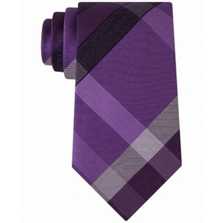 Kenneth Cole Reaction NEW Purple Track Plaid Men's Silk Blend Necktie