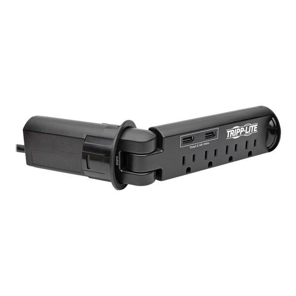 Tripp Lite - 4-Outlet Surge Protector Power Strip Desk Grommet W/ 2-Port Usb Charging