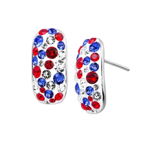 4465b2ff8 Crystaluxe Patriotic Confetti Drop Earrings with Swarovski Crystals in  Rhodium-Plated Sterling Silver - Red