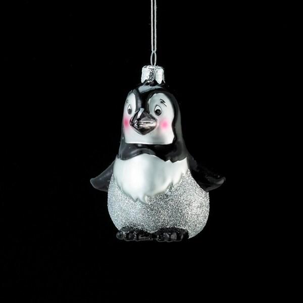 """3.75"""" Noble Gems Glass Baby Penguin Christmas Ornament - black"""