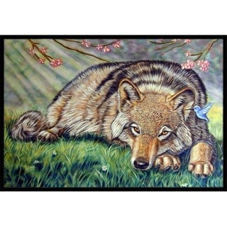 Carolines Treasures 7356JMAT Wolf And Hummingbird Indoor & Outdoor Mat 24 x 36 in.