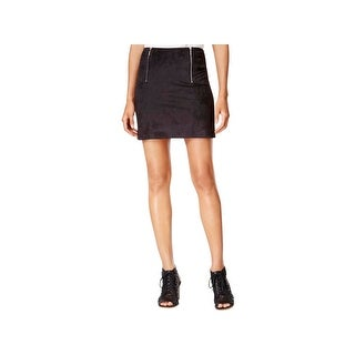 Kensie Womens Mini Skirt Faux Suede Zippers