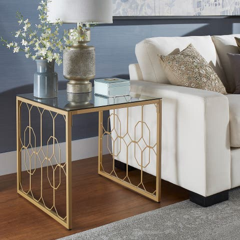 Elle Octagon Pattern Gold Metal and Glass Table by iNSPIRE Q Bold - End Table