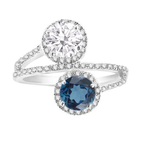 Sterling Silver London Blue Topaz,Moissanite & White Topaz Bypass Ring