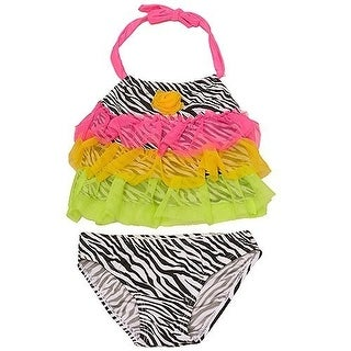 2B Real Baby Girls Black Zebra Pattern Mesh Ruffle 2 Pc Tankini Swimsuit