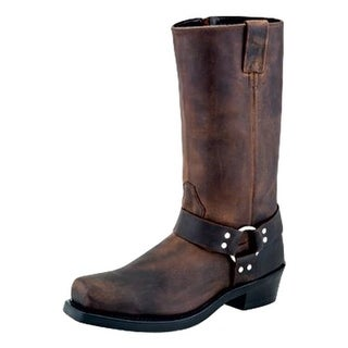 Old West Fashion Boots Mens Harness Rubber Cushion 10.5 D Brown MB2060