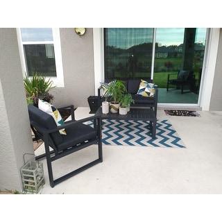 Navan Outdoor 4-piece Aluminum Conversation Set with Grey Cushions