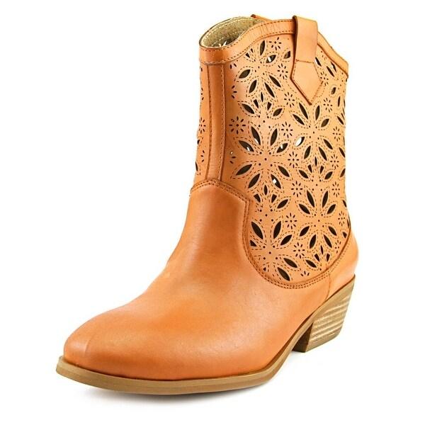 L'Artiste Elgin Women Round Toe Leather Tan Western Boot