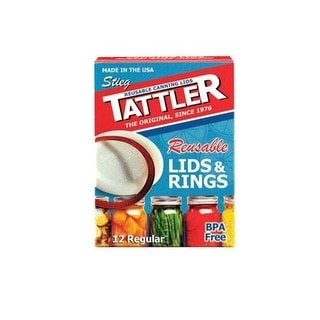 Tattler 1010 Regular Mouth Canning Lids With Rubber Rings, Count of 12