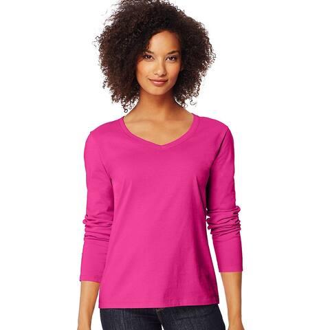 Hanes Women's Long-Sleeve V-Neck T-Shirt - Size - L - Color - Sizzling Pink